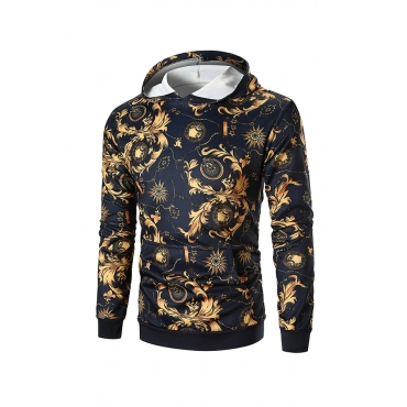 Lovely Casual Hooded Collar Printed Black Cotton Hoodies