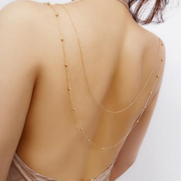 Lovely Euramerican Long Gold Metal Body Chain