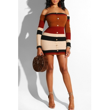 Lovely Trendy Color-lump Patchwork Brown Mini Dress