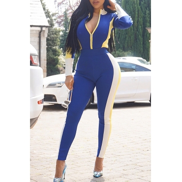 Lovely Euramerican Patchwork Skinny Blue Twilled Satin Two-piece Pants Set
