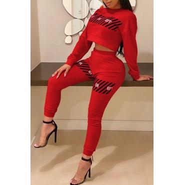 Lovely Euramerican Printed Red Blending Two-piece Pants Set