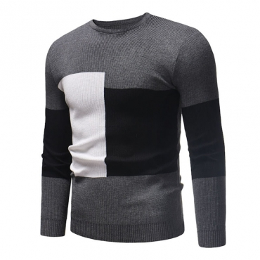 Lovely Casual Patchwork Grey Cotton Sweaters