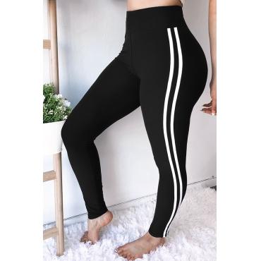 Lovely Euramerican Striped Skinny Black Pants