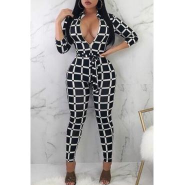 Lovely Euramerican Grids Printed  Skinny Black One-piece Jumpsuit