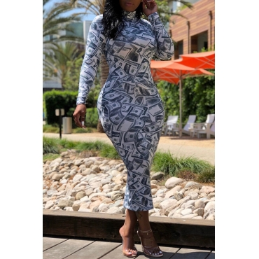 Lovely Fashion Printed Multicolor Mid Calf Dress