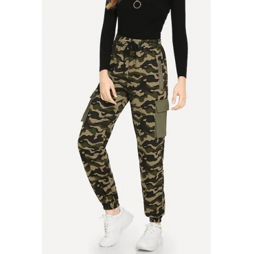 Lovely  Euramerican Camouflage Printed Pockets Army Green Pants