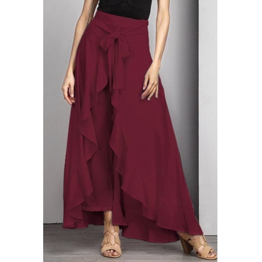 Lovely Trendy Flounce Design Lace-up Wine Red Cotton Blends Pants