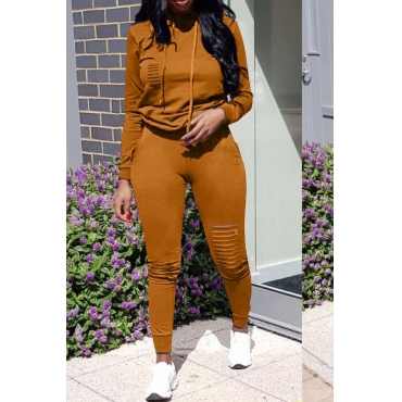 Lovely Casual Hooded Collar Broken Holes   Blending Two-piece Pants Set