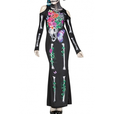 Lovely Euramerican Skull Printed Multicolor Cosplay Costumes