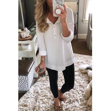 Lovely Euramerican Long Sleeves Buttons Decorative White T-shirt