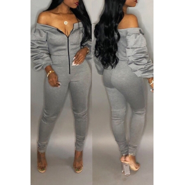 Lovely Trendy Dew Shoulder Skinny Grey Cotton One-piece Jumpsuit