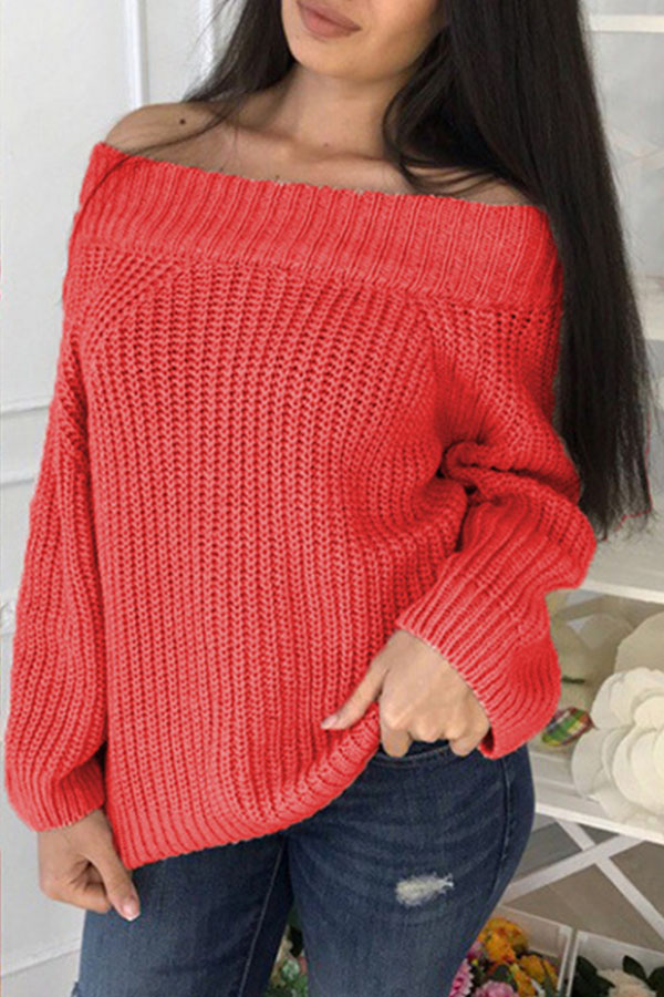 Lovely Sweet Dew Shoulder Long Sleeves Watermelon Red Cotton Sweaters