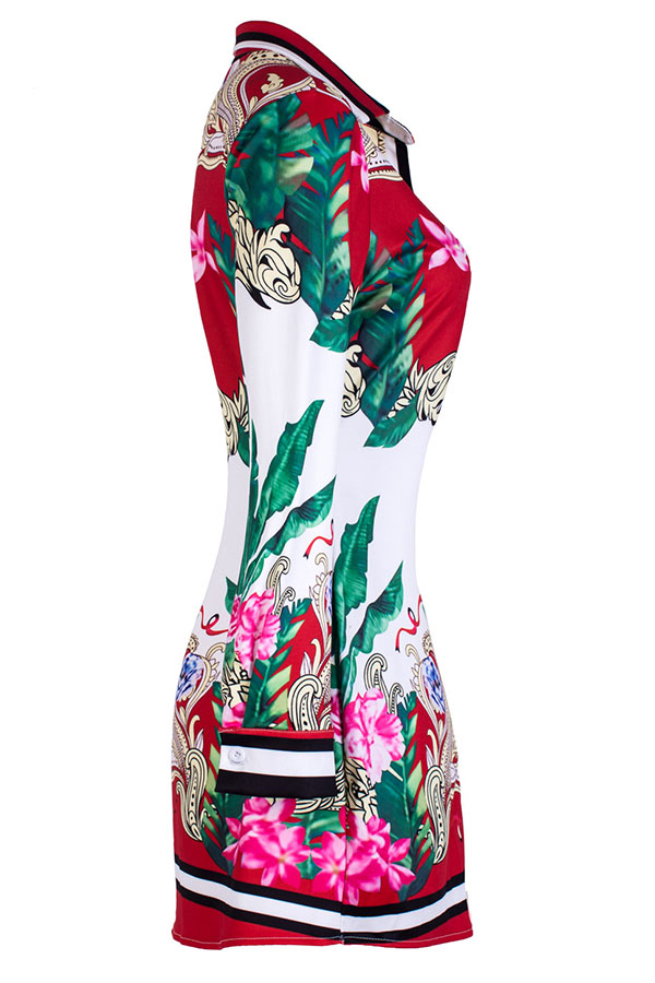 Lovely Temperament Floral Printed Red Mini Dress(Without Belt,Positioning Printed)