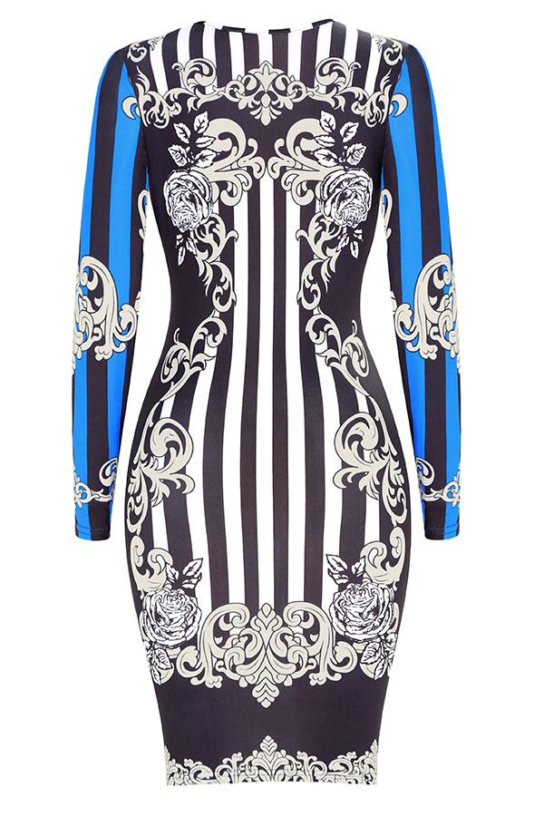 Lovely Trendy Long Sleeves Printed Black Knee Length Dress