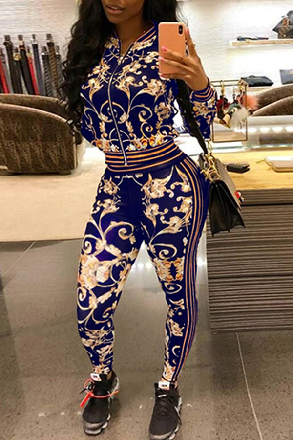 Lovely Euramerican Printed Blue Cotton Blends Two-piece Pants Set