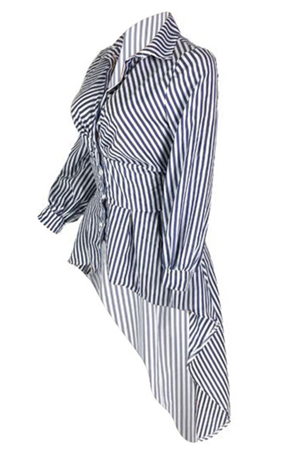 Lovely Casual Irregular Hems Striped Blue Cotton Blouses