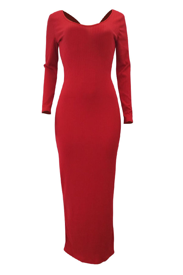 Lovely Casual Long Sleeves Slim Red Cotton Ankle Length Dress