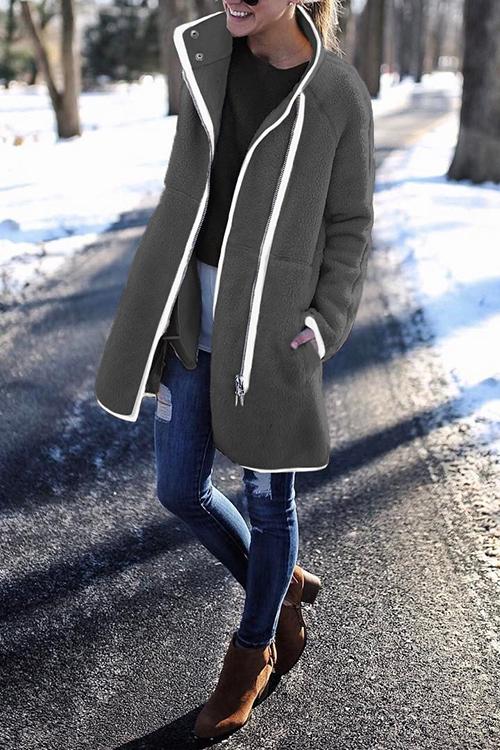 lovelywholesale / Lovely Patchwork Long Grey Coat