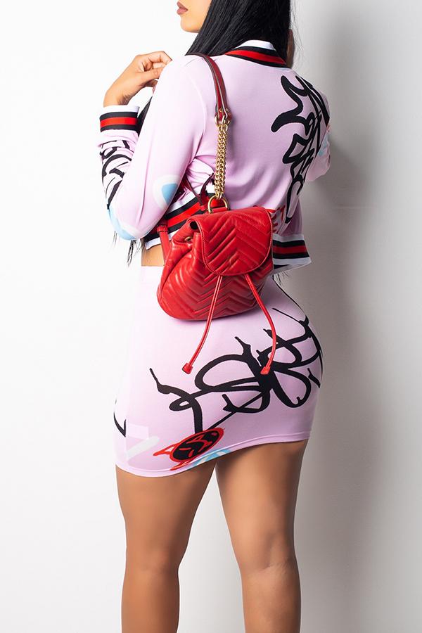 Preciosas Letras De Moda Impresas En Un Conjunto De Faldas De Dos Piezas De Satén De Twilled Rosa Delgado (sin Tapa De Tubo De Boob)