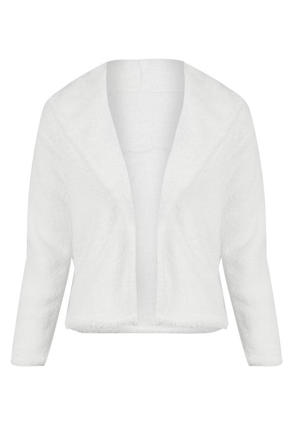 Lovely Casual Long Sleeves  White Coat