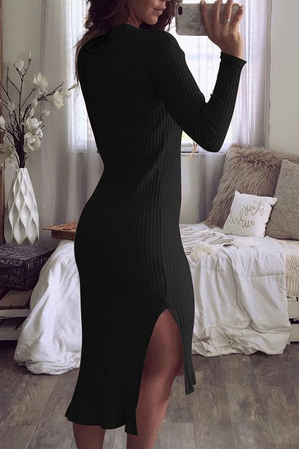 Lovely Temperament Work Long Sleeves Side Slit Black Blending Mid Calf Dress