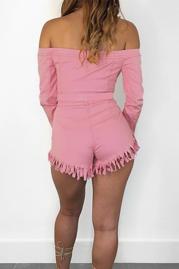 Lovely Chic Open Front With Buttons Pink Two-piece Shorts Set