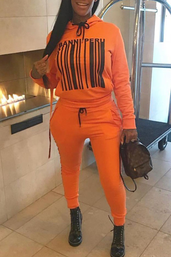 Lovely Casual Hooded Collar Long Sleeves Orange Twilled Satin Two-piece Pants Set