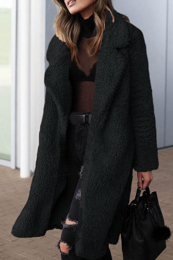 Lovely Euramerican Long Sleeves Black Imitation Wool Coats
