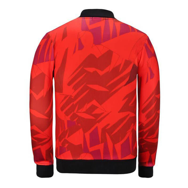 lovelywholesale / Lovely Casual Portrait Printed Red Knitting Jacket