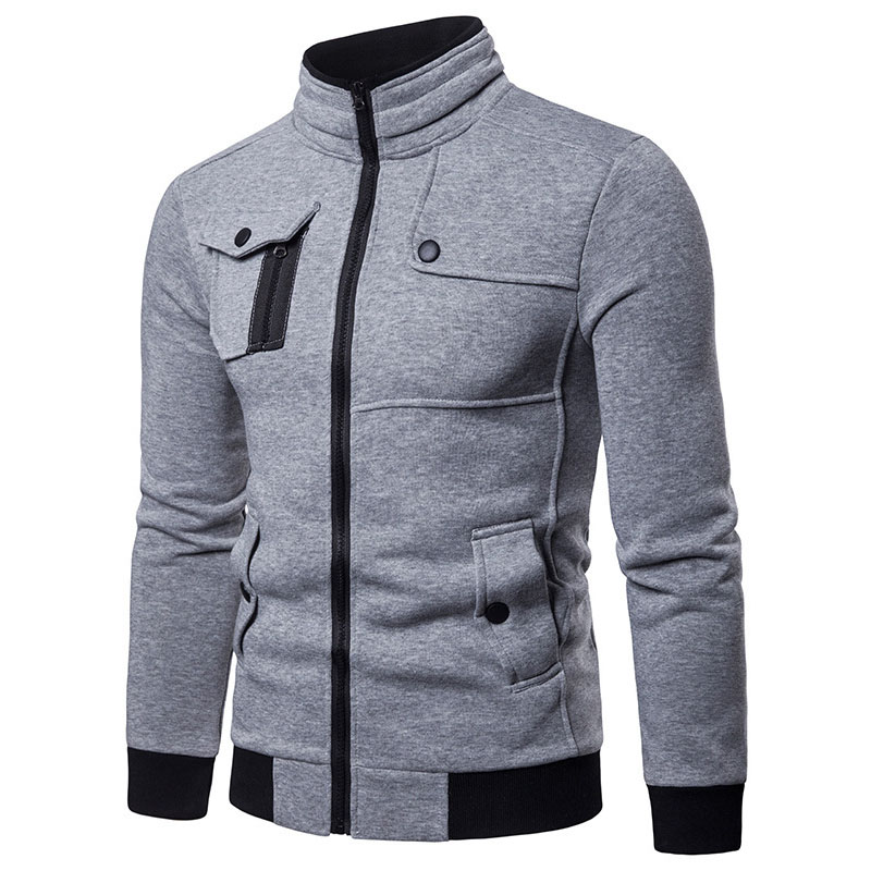 Lovely Casual Patchwork Light Grey Cotton Cardigan Hoodies