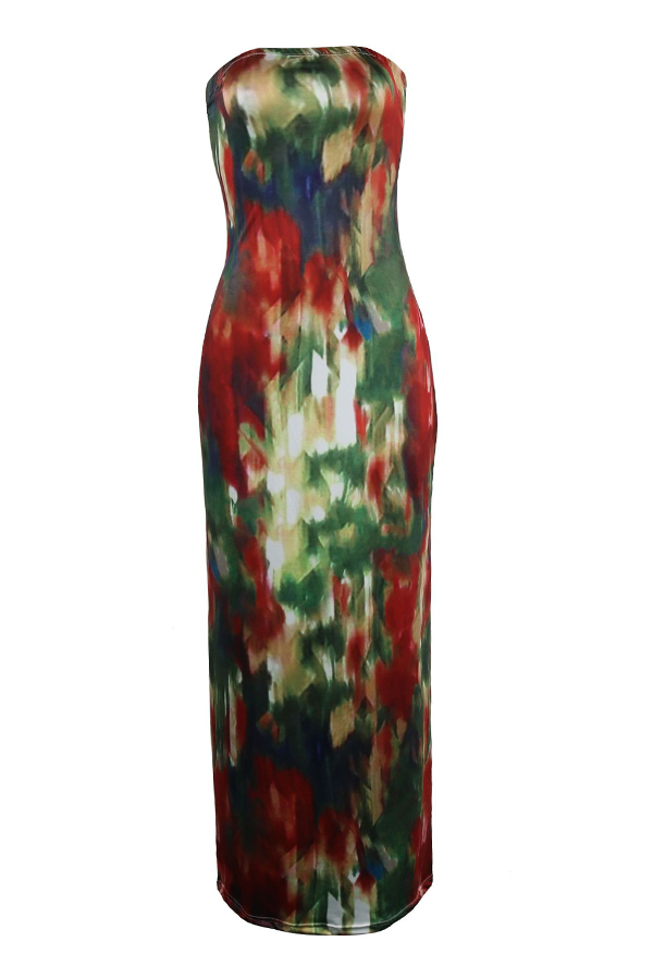Lovely Euramerican Dew Shoulder Printed Multicolor Knitting Floor Length Dress