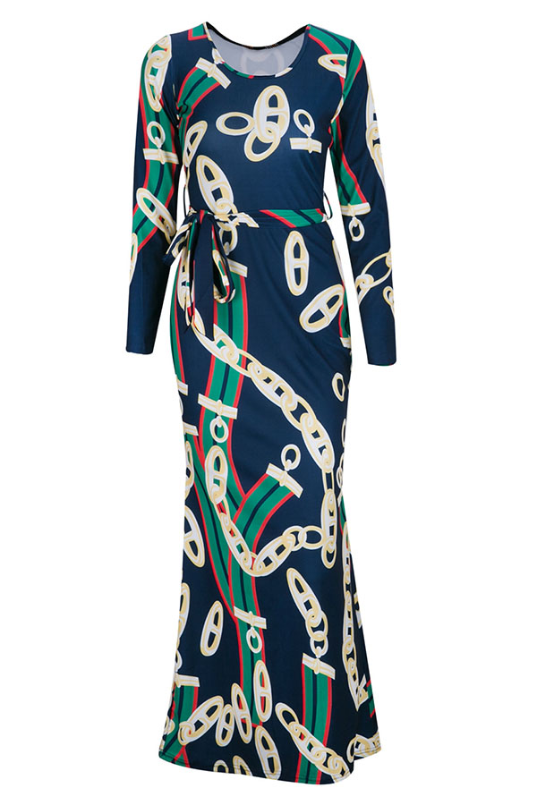 Lovely Trendy Round Neck Chain Printed Healthy Fabric Ankle Length Dress