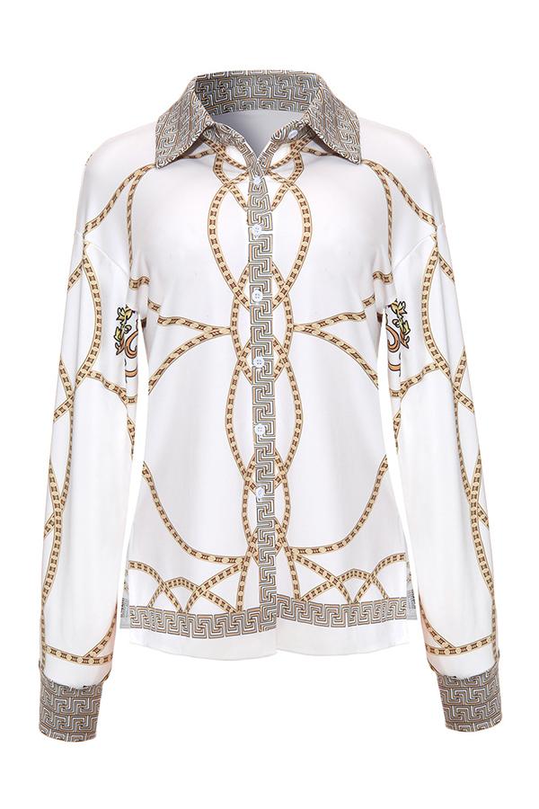 Lovely Polyester Casual Print Regular sleeve Long Sleeve Turndown Collar Blouses&Shirts
