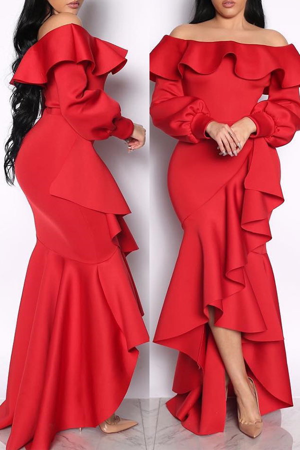 Lovely Sweet Hubble-bubble Sleeves Flounce Design Red Ankle Length Dress