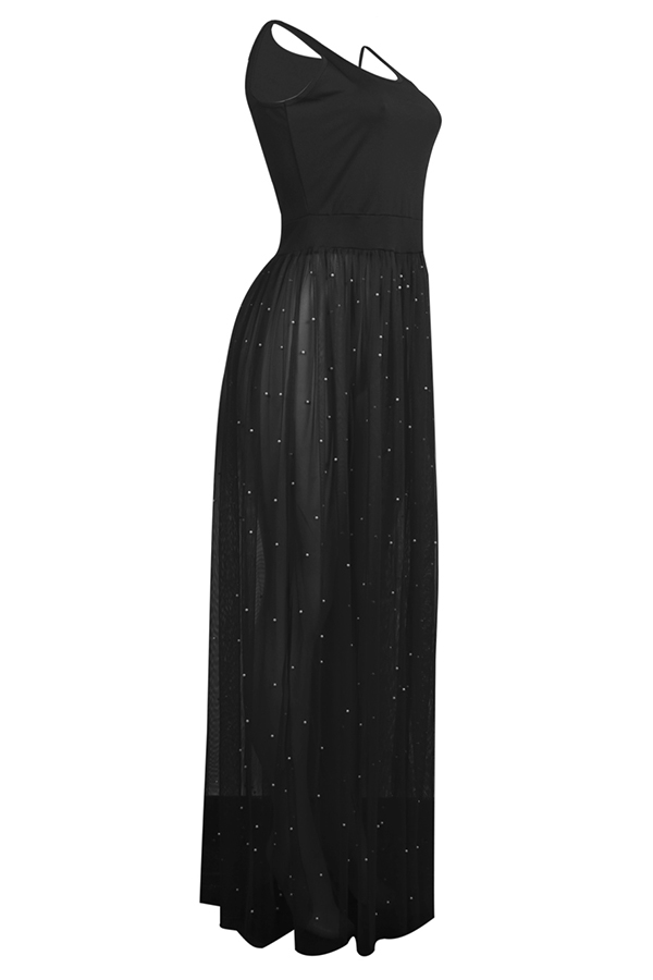 Lovely Casual U Neck Nailed Pearl Patchwork Black Blending Ankle Length Dress