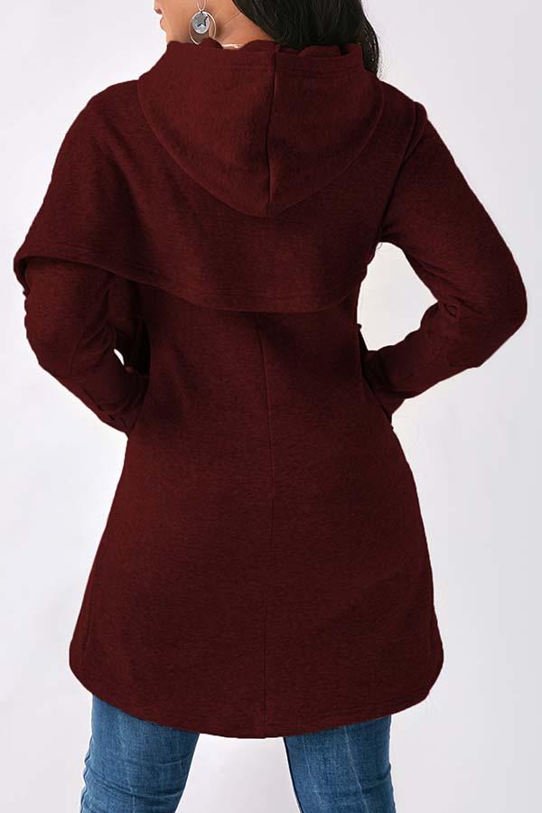 Lovely Trendy Asymmetrical Purplish Red Cotton Hoodies