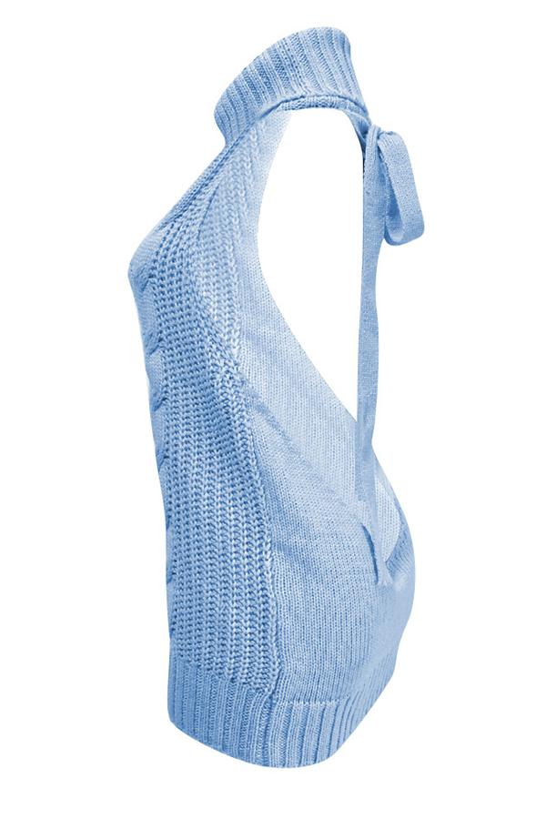 Lovely Sexy Backless Light Blue Sweater Mini Dress