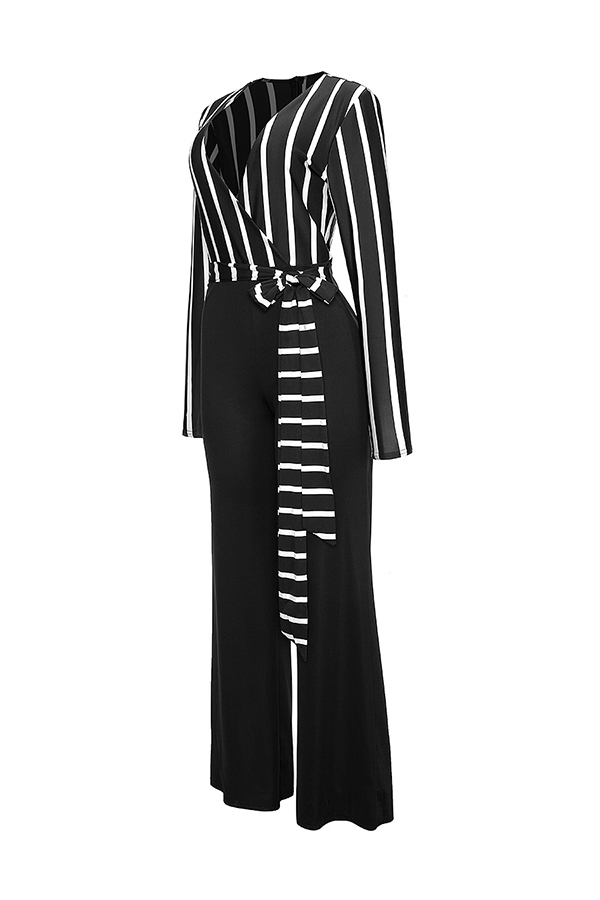 Lovely Euramerican V Neck Striped Black One-piece Jumpsuit