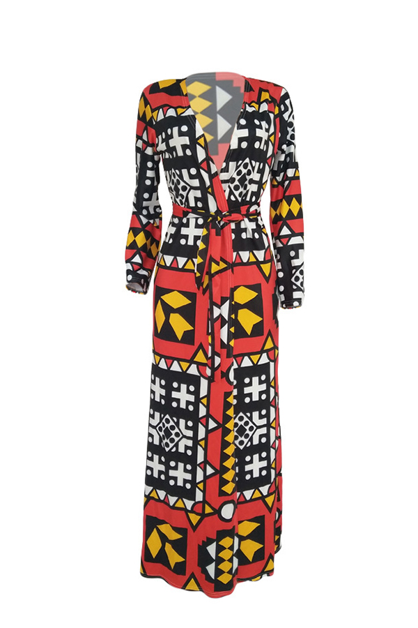 Lovely Casual Geometric Printed X-long Multicolor Coat