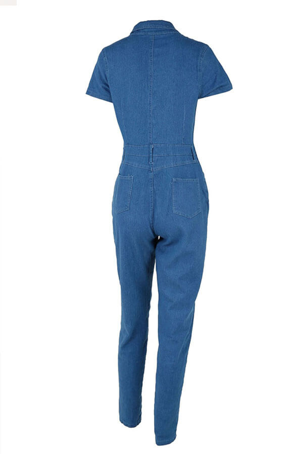 Lovely Fashion Turndown Collar Buttons Blue Denim One-piece Jumpsuit