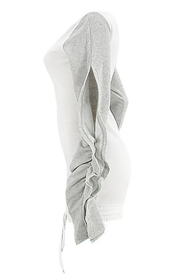 Lovely Chic Patchwork White Blending Mini Dress