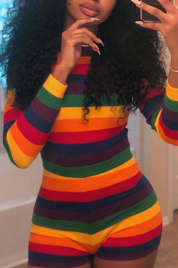 Encantador Arco Iris De Rayas Sexy Que Mezcla El Mameluco De Una Pieza
