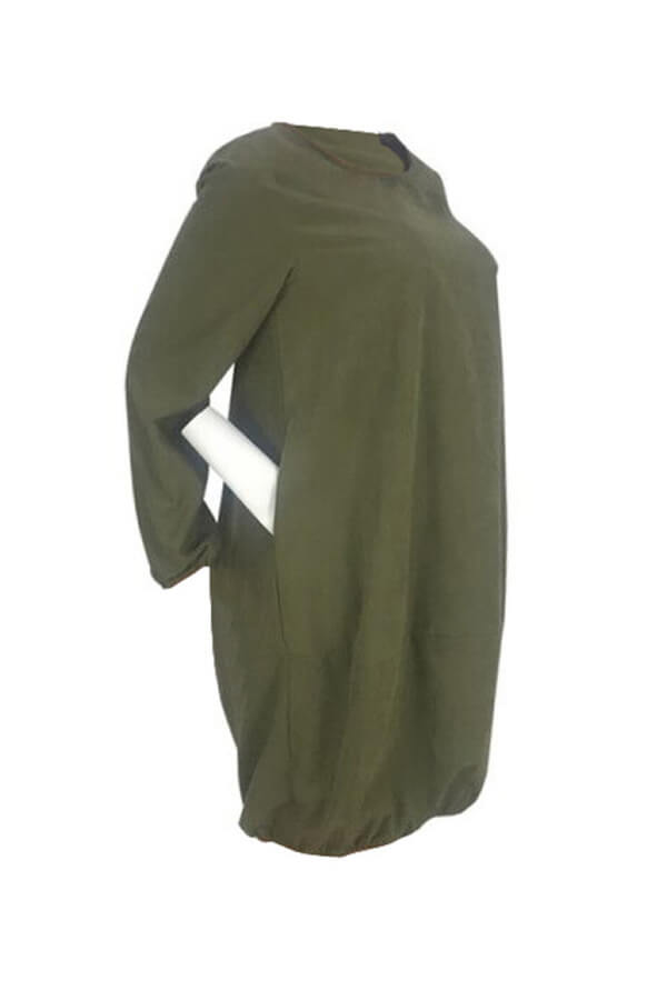 Lovely Casual Long Sleeves Loose Army Green Knee Length Dress