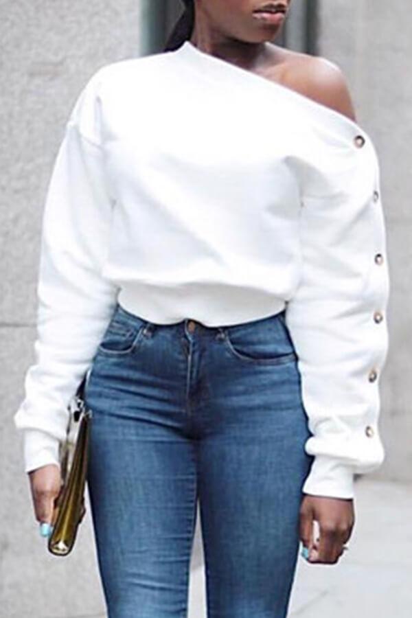 Mangas Largas De Moda Encantadora Sudor Blanco