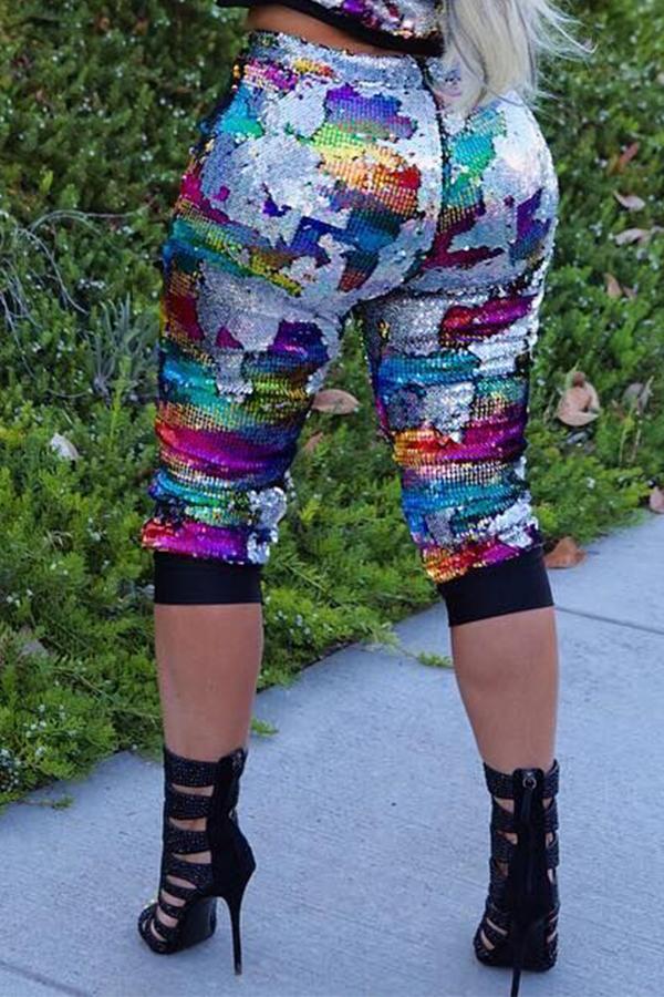 Pantalones De Lentejuelas Multicolores Ocasionales Encantadores