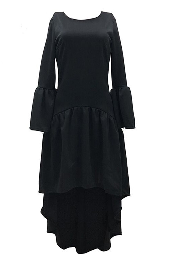 Lovely Casual Asymmetrical Flare Sleeves Black Ankle Length Dress