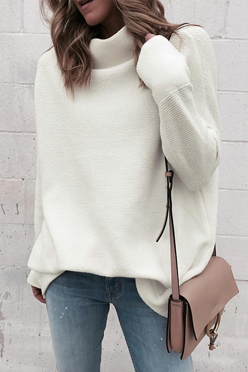 Lovely Casual Turtleneck White Acrylic Sweaters
