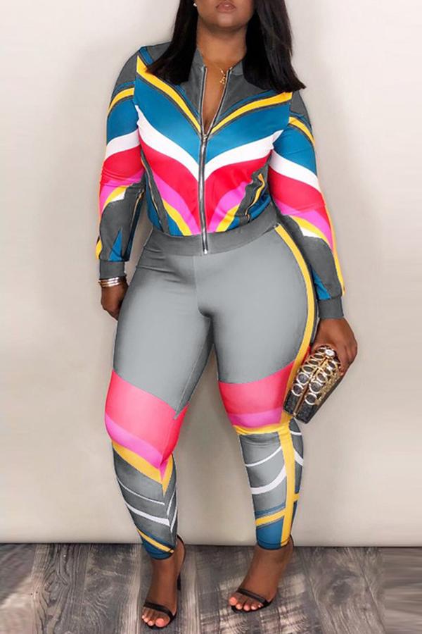 Lovely Sportswear Patchwork Grey Blending Two-piece Pants Set