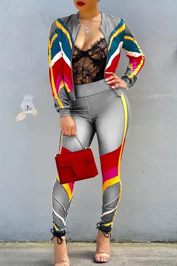 Precioso Conjunto De Pantalones De Dos Piezas De Mezcla De Patchwork De Ropa Deportiva Gris