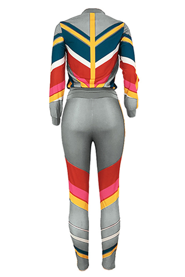Lovely Sportswear Patchwork Grey  Two-piece Pants Set